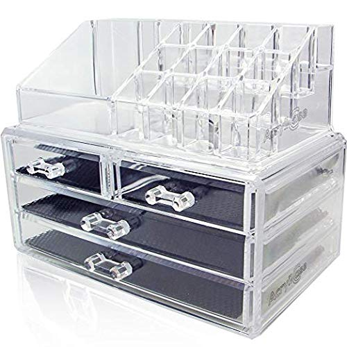Acrylic Makeup Jewelry Vanity Organizer - Clear Lipstick Make up Brush Display case Container for Beauty Products! 16 Slot 4 Box Drawers Holder Storage Earring and Other Cosmetic Items for Bathroom!