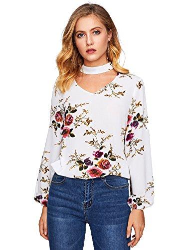 Floerns Womens Choker V Neck Floral Print Long Sleeve Blouse Top