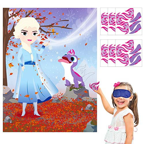 Princess Birthday Party Theme (Ticiaga 36pcs Frozen 2 Bruni Kids Party Stickers Game, Pin The Tail and Flame On Large Elsa and Bruni Poster, Princess Theme Party Game Activity, Winter Wonderland Theme Birthday Party)