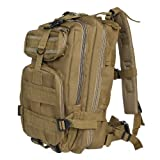 Kingzer 30L Outdoor Sport Military Tactical Backpack Molle Rucksacks Camping Bag Tan