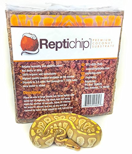Reptichip Premium Coconut Substrate 72 quarts (2.5 cu ft) of organic reptile substrate the perfect reptile bedding for ball pythons and this coconut bedding is perfect for amphibians!