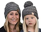 fPOM-6800-816.21 Mom (Pom) & Child (Pom) Beanie Bundle - Grey/Black 4#31