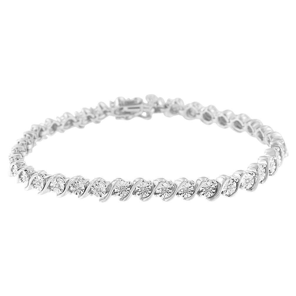 Sterling Silver Diamond S-Link Tennis Bracelet (0.25 cttw, H-I Color, I2-I3 Clarity)