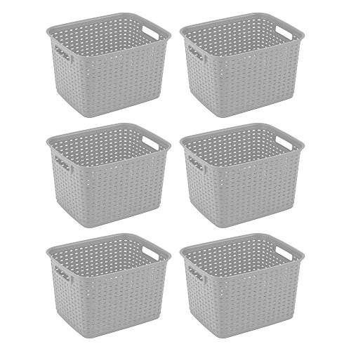 Sterilite 12736A06 Tall Weave Basket, Cement, 6-Pack