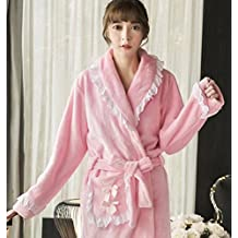 GL&G Thicker Keep Warm Flannel Nightgown - Ms Autumn And Winter Quilted Sexy Long Section Coral Velvet Bathrobes,L