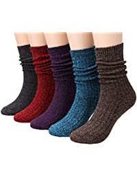 Ladies 5 Pack Fashion Warm Ribbed Knit Winter Boot Crew Socks Size 5-10 W82