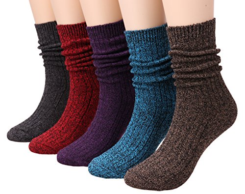 Ladies 5 Pack Fashion Ribbed Knit Winter Boot Crew Socks Size 5-10 W82 (mixed color)