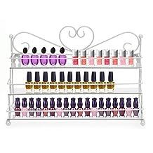 AISHN Nail Polish Wall Rack / 3 Tiers Metal Heart Design Nail Polish Organizer Shelf Rack /Table Top Display Rack Stand(Pink)