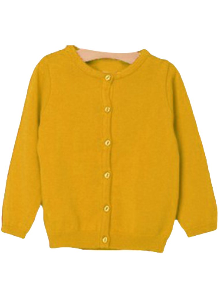 Mallimoda Girl's Long Sleeve Crewneck Button Solid Cardigan Knit Sweaters Yellow 7-8 Years by Mallimoda (Image #1)