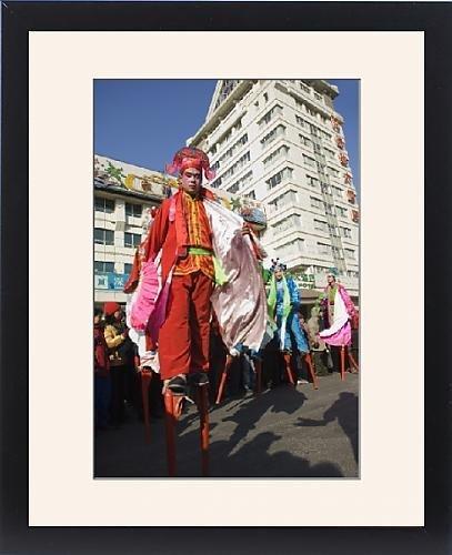 Framed Print of Stilt walkers, Chinese New Year, Spring Festival, Beijing, China, Asia