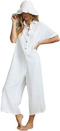 Jofemuho - Mono con Capucha para Mujer, de algodón y Lino - Blanco - X-Large: Amazon.es: Ropa y accesorios