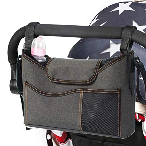 Ationgle Stroller Organizer Bag for All Baby's Accessories Deep Cup Holders Shoulder Strap Storage Bag Mesh Pocket Large Storage Space for Baby Diaper Toys Wallet Phone Pouch Universal Fit (Grey) ()