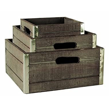 Wald Imports Wood Crates with Galvanized Metal Trim, Gray, Set of 3