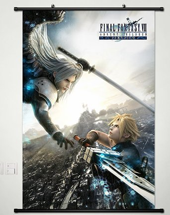 Final Fantasy Home Decor Anime Wall Scroll Poster Fabric Painting Cloud Strife & Sephiroth 23.6 X 35.4 Inches-055