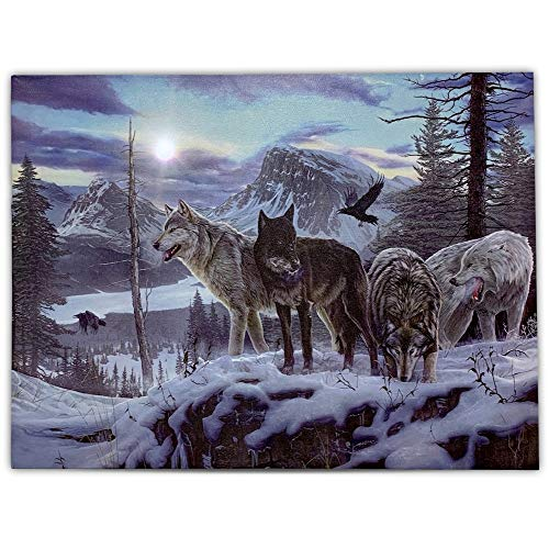 BANBERRY DESIGNS Wolf Print - LED Lighted Canvas Print with a Pack of Wolves - Winter Scene Wildlife - 16 X 12