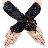 Xuhan 1920s Black Long Flapper Fingerless Evening Opera Satin Gloves for Women