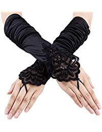 "15""/ 21"" Long Flapper Evening Opera Satin Gloves for Women Elbow Length 1920s"
