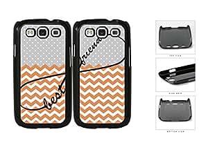 Gray Polka Dot Orange Chevron Best Friends Set Hard Plastic Snap On Cell Phone Case Samsung Galaxy S3 SIII I9300