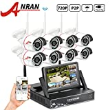 Cheap ANRAN 8CH WIFI Network NVR 7 inch Monitor Smart Wireless Camera System with 8 x 720P Waterproof Outdoor IR Night Vision Home Security Camera Plug Play No Hard Drive