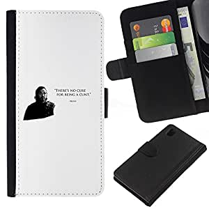 All Phone Most Case / Oferta Especial Cáscara Funda de cuero Monedero Cubierta de proteccion Caso / Wallet Case for Sony Xperia Z1 L39 // There's No Cure For Being A Cunt Bronn