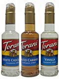 Torani Syrup 375ml (3 pack): Vanilla, Salted Caramel, and White Chocolate