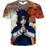 Nemolemon Men's Fashion 3D Print Uchiha Sasuke Casual Cartoon T-Shirts,Large, Sasuke