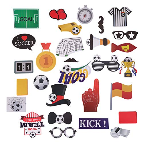 LUOEM 29 Pack Football Photo Booth Props Kit Sports Party Photo Booth Props Super Bowl Party Games Ideas for Football Party Decorations Supplies]()