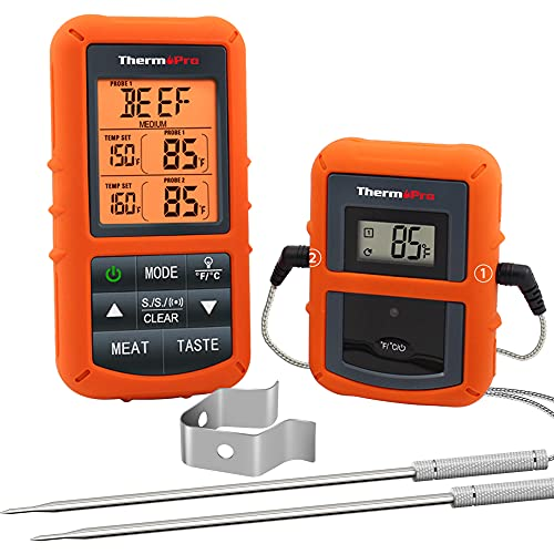 ThermoPro TP20 Wireless Remote Digital Cooking Food Meat Standard, Orange