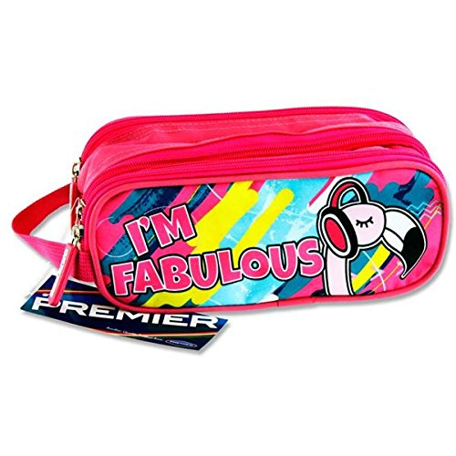 Premier cancelleria C5616263  I' m Fabulous Flamingo design Campus ovale 3  tasca zip Pencil Case Premier Stationery
