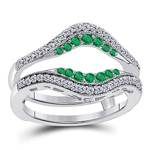 - Jewelryhub 14k White Gold Plated Sterling Silver Double Row Pave Set Classic Style Halo Engagement Wedding Enhancer Ring Guard with CZ Green Emerald