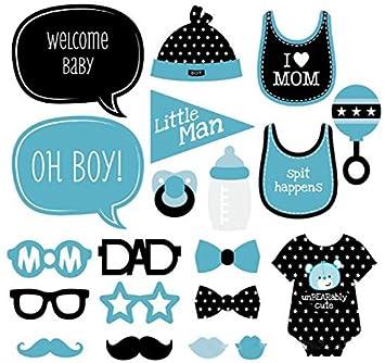 KMALL 20 pezzo Baby I compleanni della prima festa di partito della foto del proiettore Baby Shower Photobooth Prop set Baffi sul bastone Compleanno partito Decor rosa