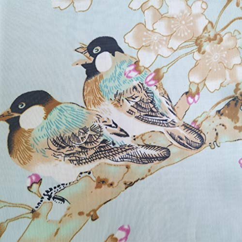 Herebuy - Unique Women's Floral Scarves: Chiffon Flowers & Birds Printed Scarf (Pale Green+Coffee) by E-Clover (Image #3)