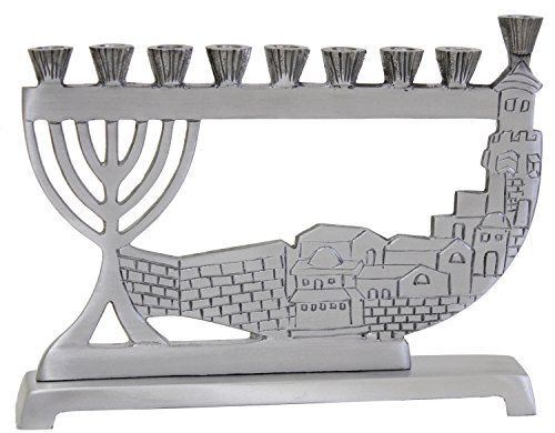 Ben&Jonah Lamp Lighters Ultimate Judaica Candle Menorah - Pewter - 6