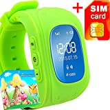 GBD GPS Tracker Smart Watch for Kids with Sim Card Smartwatch Phone Anti-lost Finder SOS Gprs Children Fitness Tracker Wrist Watch Bracelet with Pedometer Parents Control App for Smartphone(Green)