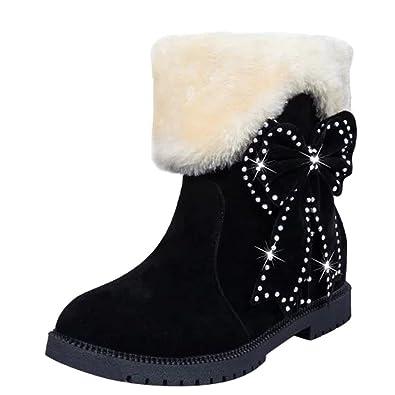 Women's Comfort Bows Sequins Adjustable Shaft Mid Calf Snow Boots