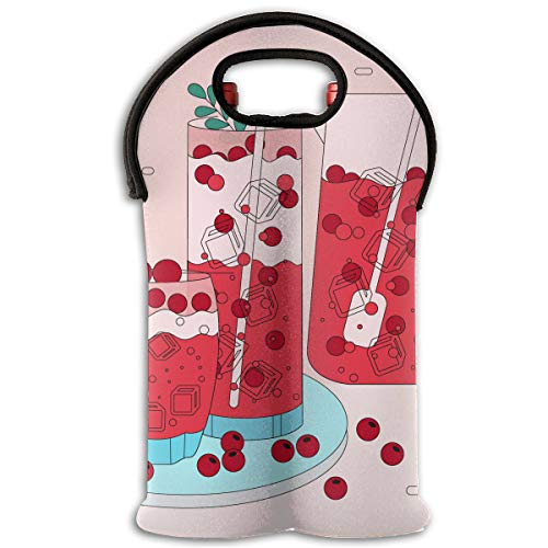 RobotDayUpUP Cranberries Juice 2 Bottle Wine Tote Carrier Bag Portable Insulated Polyester Beer Hand Bag for -