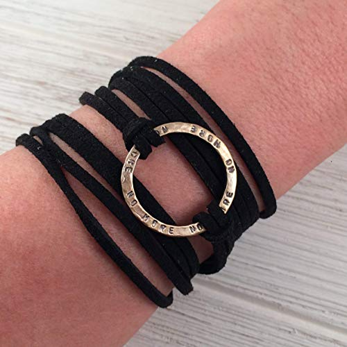 (Reversible NO MORE Stamped Peruvian Bronze Infinity Circle Wrap Bracelet, Black Adjustable Faux Suede Leather Cord, Friendship Support Bracelet)