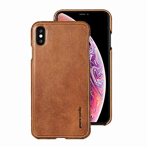 iPhone Xs Max Case, Pierre Cardin Genuine Leather Premium Vintage Classic Business Style for Men Hard Back Cover Slim Protective Compatible Apple iPhone Xs Max - Brown