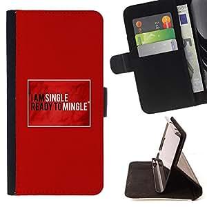 BullDog Case - FOR/Samsung Galaxy S6 EDGE / - / single ready mingle quote funny love /- Monedero de cuero de la PU Llevar cubierta de la caja con el ID Credit Card Slots Flip funda de cuer