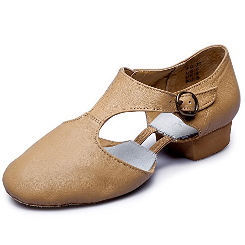 Lyrical Jazz Dance - Womens T-Strap Leather Jazz Dance Shoes,Natural,6.5 M US Women