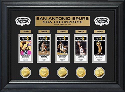 NBA San Antonio Spurs 5-Time Champions Deluxe Gold Game Coin & Ticket Collection, 32'' x 27'' x 4'' by The Highland Mint