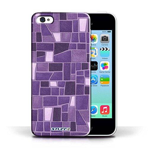 Etui / Coque pour Apple iPhone 5C / Pourpre/Blanc conception / Collection de Carrelage Mosaïque