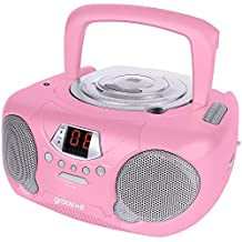 Groov-e GVPS713RD Boombox Portable CD Player with Radio - Pink