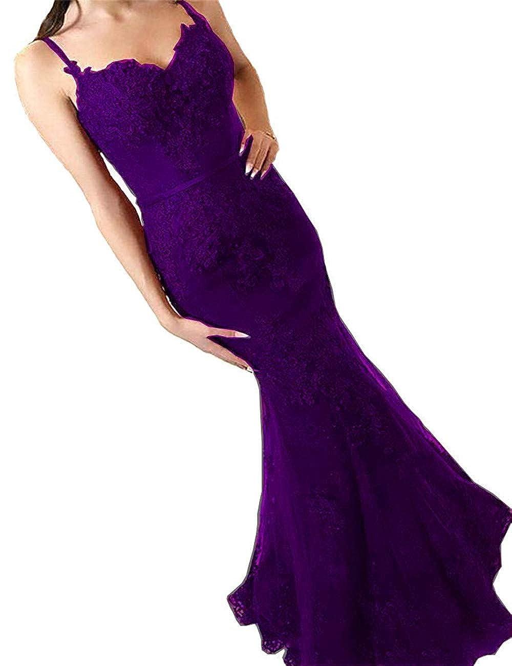 Dark Purple Sophie Women's Mermaid Full Lace Prom Dresses Spaghetti Straps Long Formal Evening Dress S164