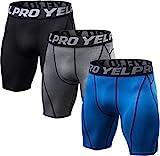 SILKWORLD Men's 3 Pack Baselayer Cool Dry Compression Running Shorts,Black,Grey,Blue,US XL
