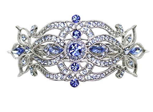 Sapphire Clip - Faship Sapphire Color Blue Crystal Big Hair Barrette