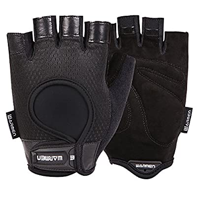 WARMEN Cycling Gloves - Suede Leather Palm Support for Biking Riding Mountain Climbing Outdoor Racing, Fitness Workout Gym Weightlifting Indoor Power Training for Men & Women