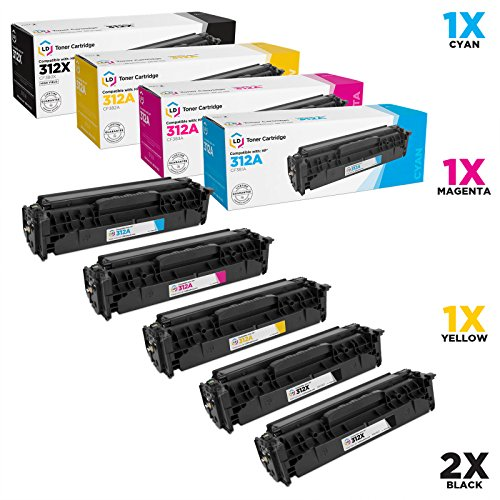 LD Compatible Toner Cartridge Replacements for HP 312A & HP 312X High Yield (2 Black, 1 Cyan, 1 Magenta, 1 Yellow, 5-Pack) ()