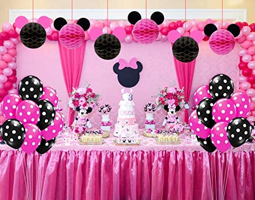 Kreatwow Minnie Mouse Birthday Party Supplies Decoraciones para niñas 1º 2º 3º Cumpleaños Baby Shower