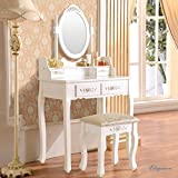 Elegance Vanity Makeup Table Set 4 Strawers Dressing Table with Stool ,White
